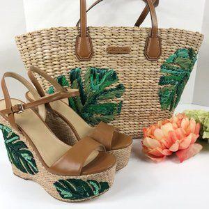 Michael Kors Malibu straw tote palm purse bag